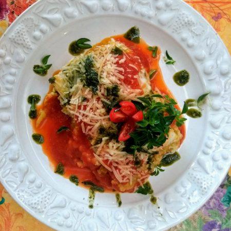 12- Lasanha de fit de legumes grelhados ( abobrinha, berinjela, acelga) e ricota ao molho de tomate.