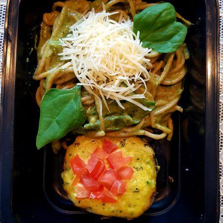 7- Espaguete integral ao creme de espinafre com berinjela cremosa.
